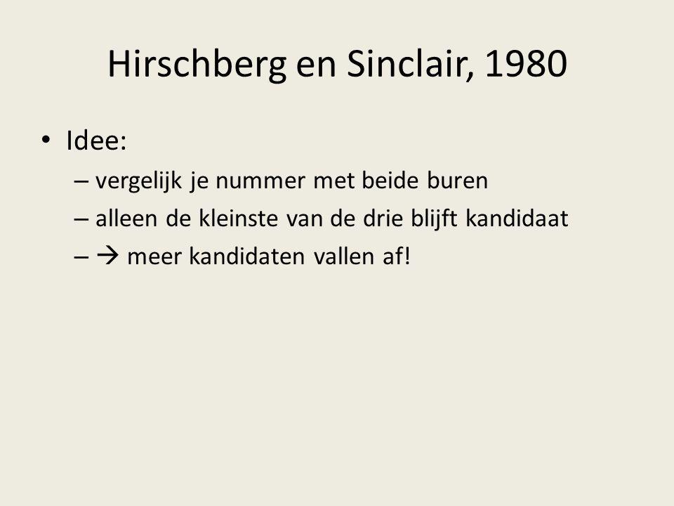 Hirschberg en Sinclair, 1980 Idee: – vergelijk je nummer met beide buren – alleen de kleinste van de drie blijft kandidaat –  meer kandidaten vallen af!