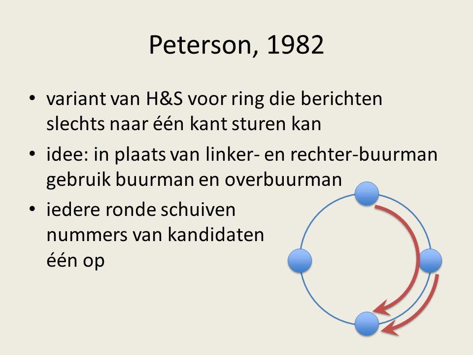 Peterson, 1982 variant van H&S voor ring die berichten slechts naar één kant sturen kan idee: in plaats van linker- en rechter-buurman gebruik buurman en overbuurman iedere ronde schuiven nummers van kandidaten één op