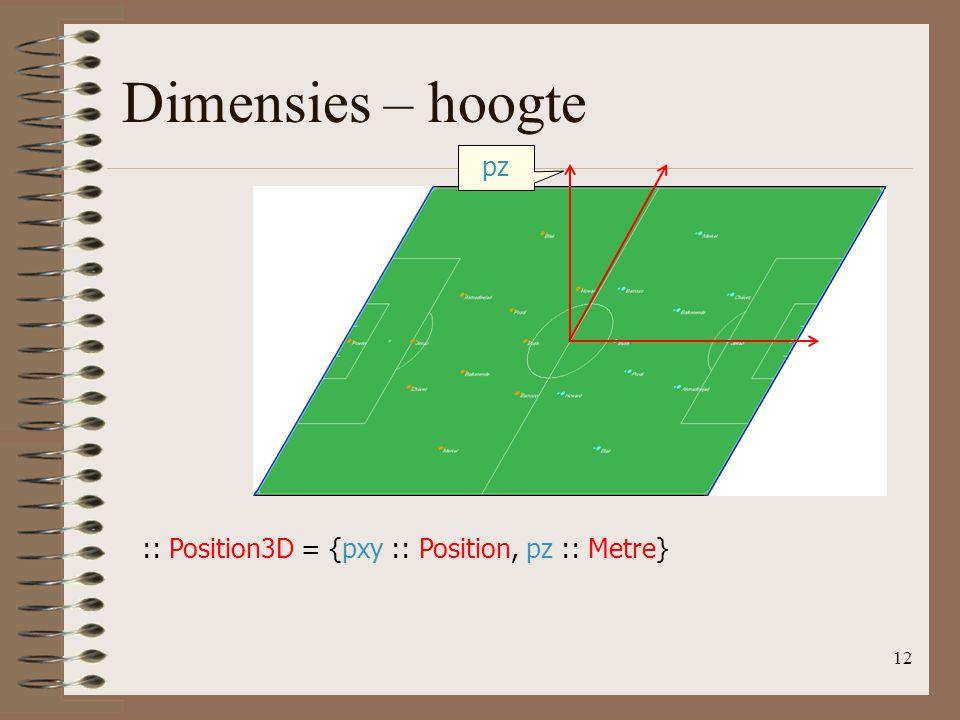 12 Dimensies – hoogte :: Position3D = {pxy :: Position, pz :: Metre} pz
