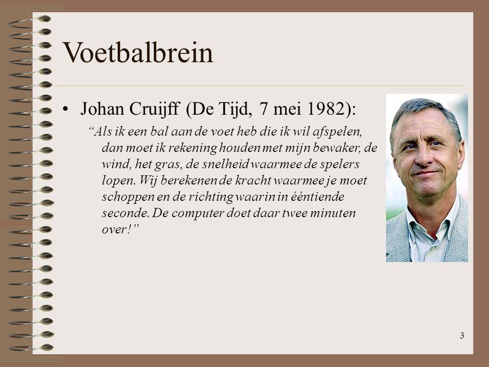 4 Voetbalbrein Johan Cruijff (De Tijd, 7 mei 1982): Als ik een bal aan de voet heb die ik wil afspelen, dan moet ik rekening houden met mijn bewaker, de wind, het gras, de snelheid waarmee de spelers lopen.