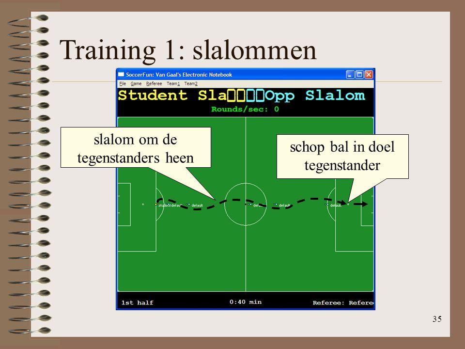 35 Training 1: slalommen slalom om de tegenstanders heen schop bal in doel tegenstander