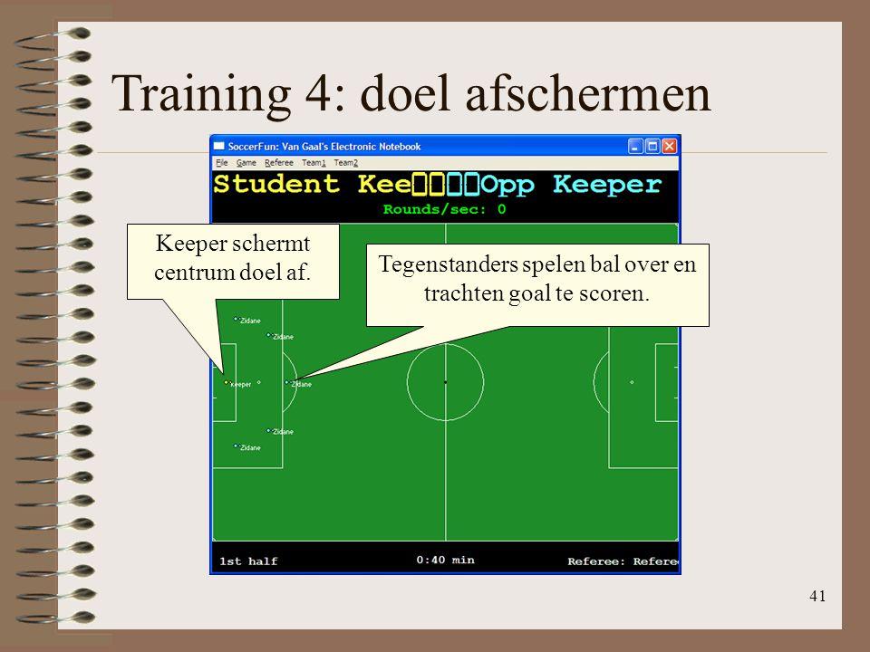 41 Training 4: doel afschermen Keeper schermt centrum doel af. Tegenstanders spelen bal over en trachten goal te scoren.