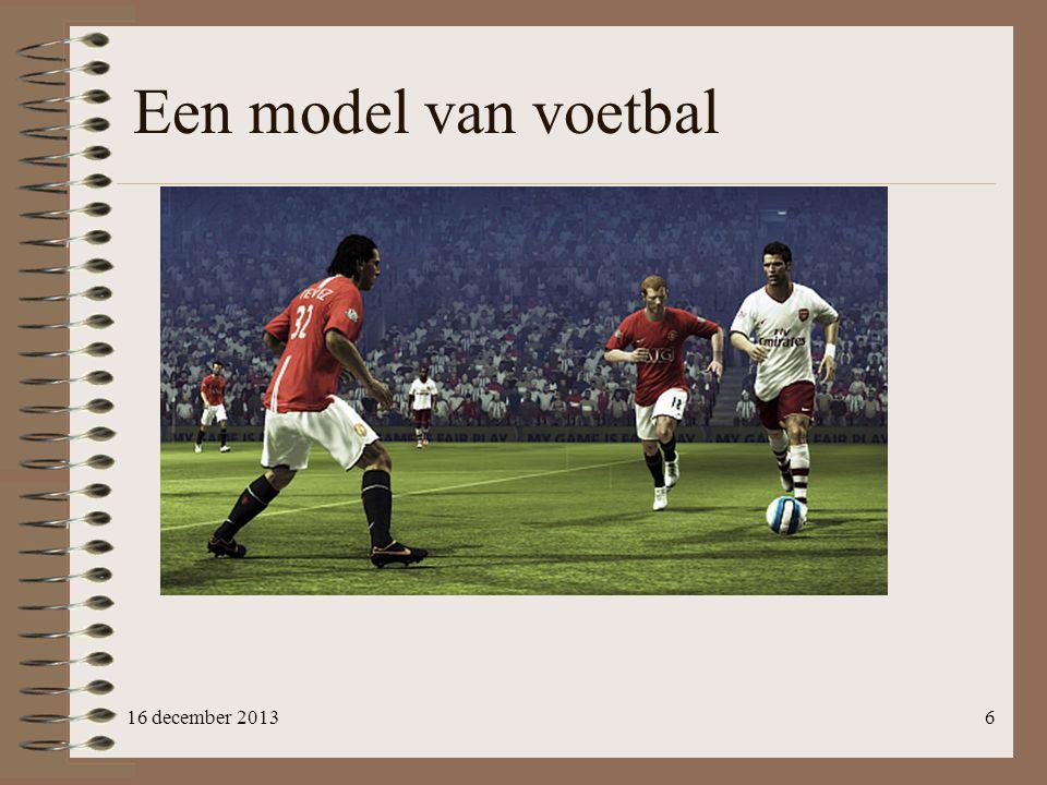 :: Footballer= E.m: { …, brain :: Brain (FootballerAI m) m } :: Brain ai m= { memory :: m, ai :: ai } :: FootballerAI m :==(BrainInput, m) ->(BrainOutput,m) 17 Ons brein is anders mijnBrein ::(BrainInput, Memory) -> (BrainOutput, Memory)