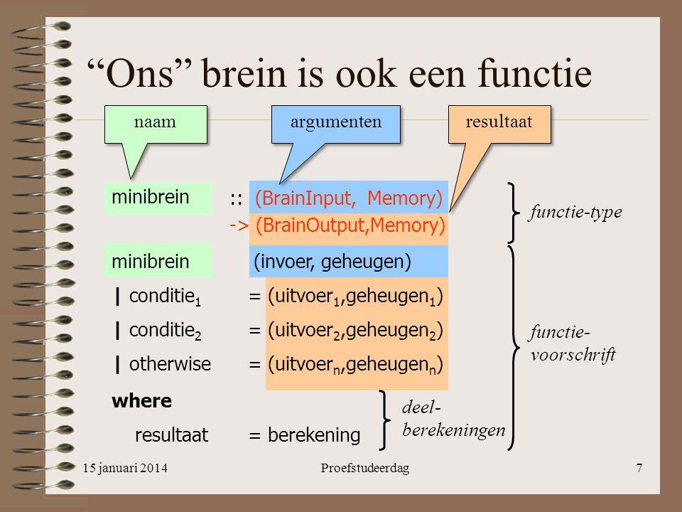 """Proefstudeerdag7 """"Ons"""" brein is ook een functie naam argumenten resultaat minibrein functie-type functie- voorschrift :: (BrainInput, Memory) -> (Brai"""