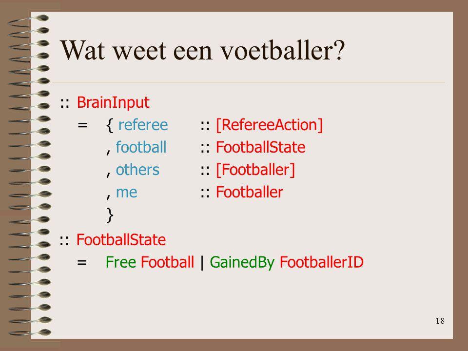 18 Wat weet een voetballer? ::BrainInput ={ referee:: [RefereeAction], football:: FootballState, others:: [Footballer], me:: Footballer } ::FootballSt