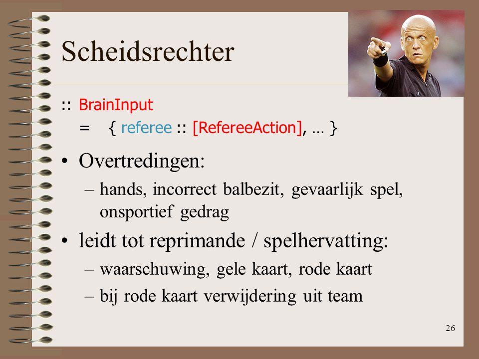 Scheidsrechter 26 ::BrainInput ={ referee :: [RefereeAction], … } Overtredingen: –hands, incorrect balbezit, gevaarlijk spel, onsportief gedrag leidt