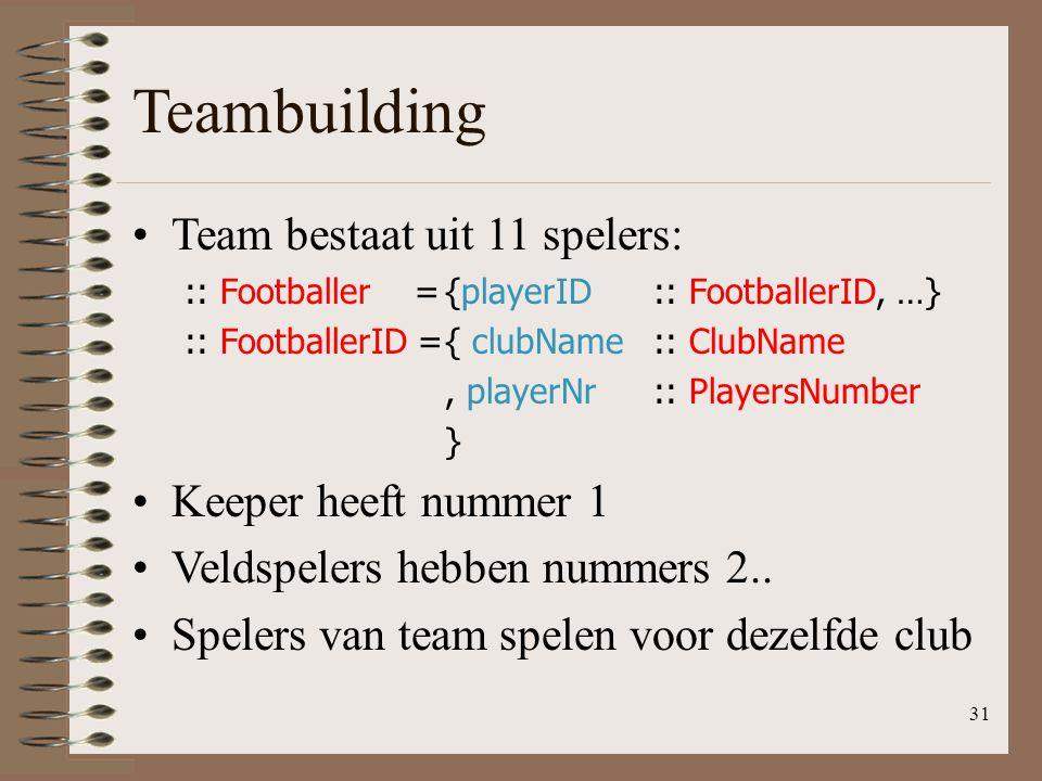 Teambuilding Team bestaat uit 11 spelers: :: Footballer ={playerID:: FootballerID, …} :: FootballerID ={ clubName:: ClubName, playerNr:: PlayersNumber