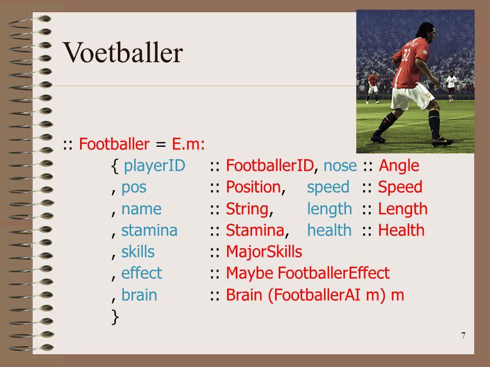 :: Footballer = E.m: { playerID:: FootballerID, nose :: Angle, pos:: Position,speed :: Speed, name:: String,length :: Length, stamina:: Stamina,health