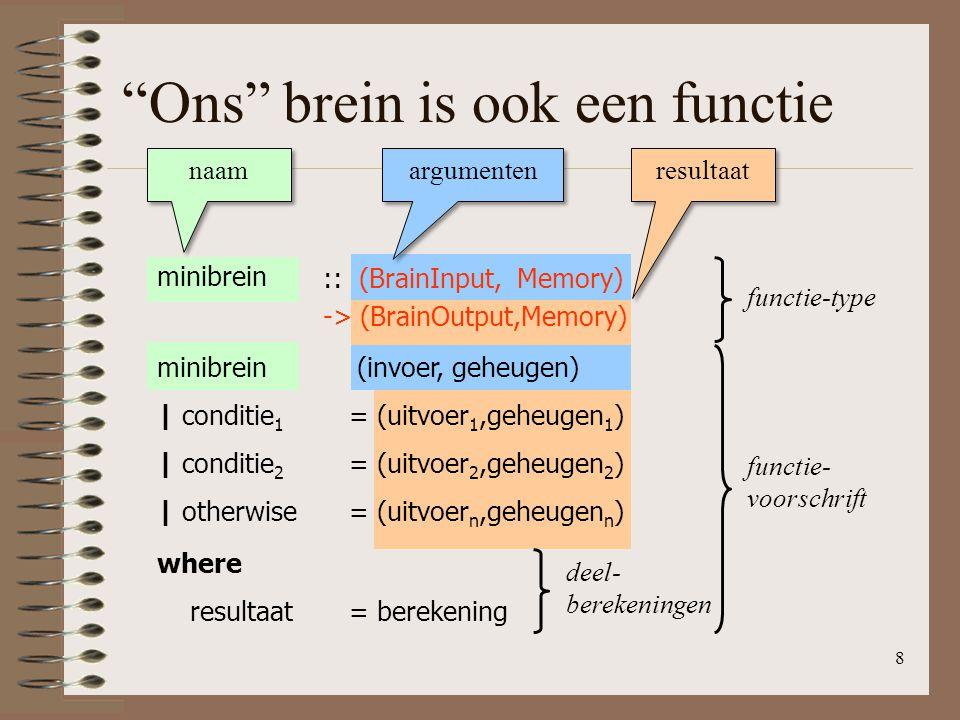 """8 """"Ons"""" brein is ook een functie naam argumenten resultaat minibrein functie-type functie- voorschrift :: (BrainInput, Memory) -> (BrainOutput,Memory)"""