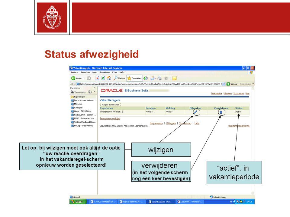 """Status afwezigheid wijzigen verwijderen (in het volgende scherm nog een keer bevestigen) """"actief"""": in vakantieperiode Let op: bij wijzigen moet ook al"""