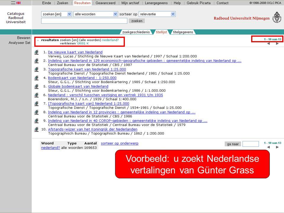 Voorbeeld: u zoekt Nederlandse vertalingen van Günter Grass