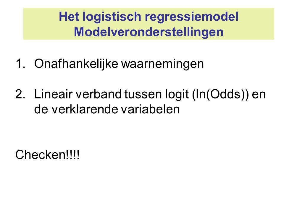 Het logistisch regressiemodel Modelveronderstellingen 1.Onafhankelijke waarnemingen 2.Lineair verband tussen logit (ln(Odds)) en de verklarende variab