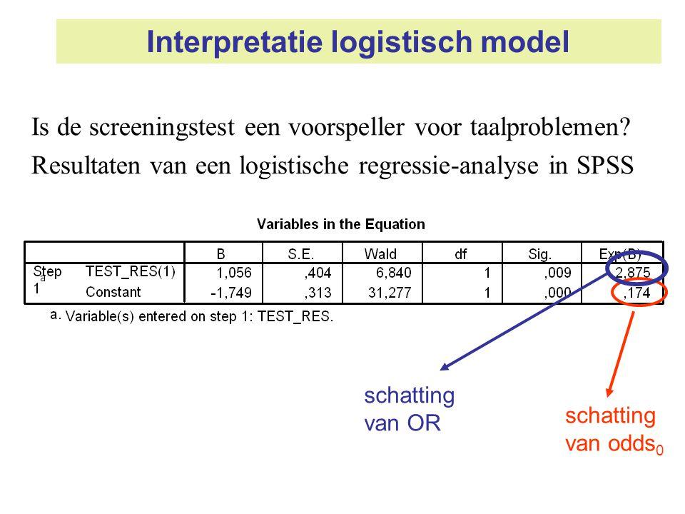 Interpretatie logistisch model Is de screeningstest een voorspeller voor taalproblemen? Resultaten van een logistische regressie-analyse in SPSS schat