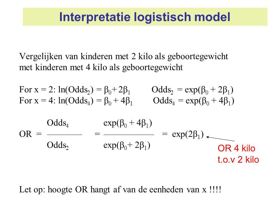 Interpretatie logistisch model Vergelijken van kinderen met 2 kilo als geboortegewicht met kinderen met 4 kilo als geboortegewicht For x = 2: ln(Odds