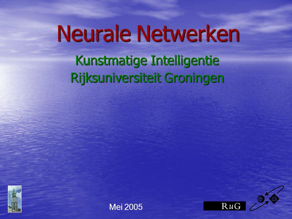 kunstmatige neuronen: de Threshold Logic Unit y = 1 if a >= Θ y = 0 if a < Θ x1x1 w1w1 x3x3 w3w3 x2x2 y w2w2 boek: figuur 2.4 (iets andere weergave).