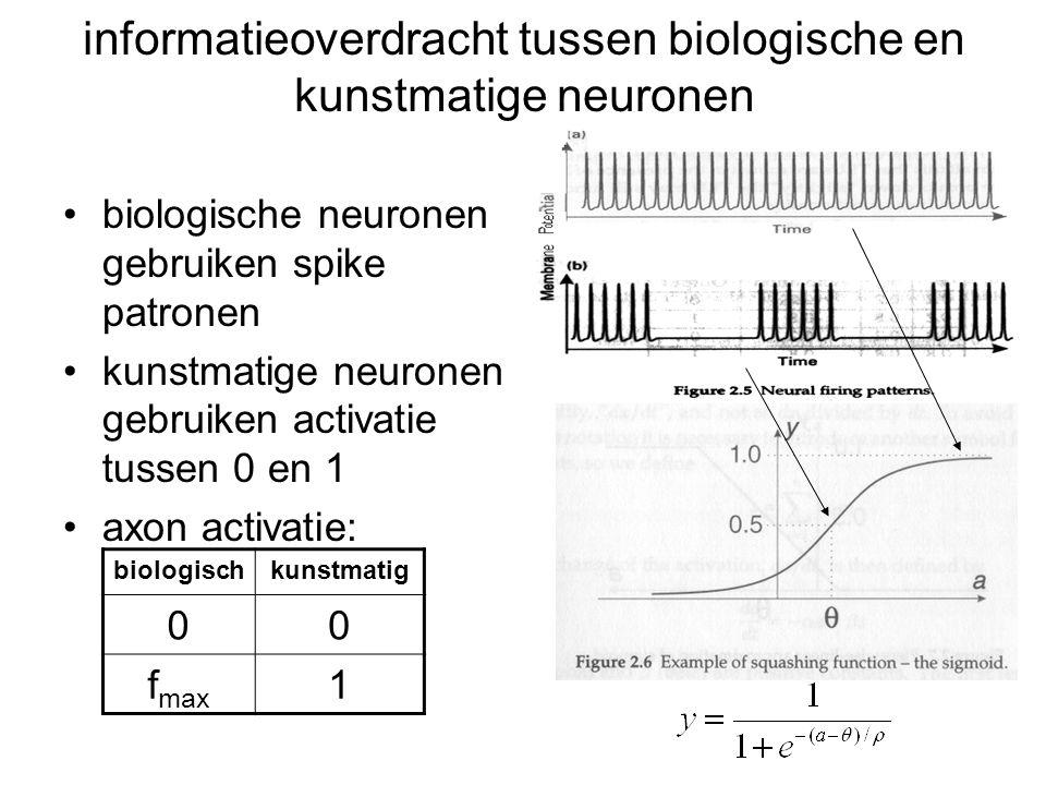 informatieoverdracht tussen biologische en kunstmatige neuronen biologische neuronen gebruiken spike patronen kunstmatige neuronen gebruiken activatie tussen 0 en 1 axon activatie: biologischkunstmatig 00 f max 1
