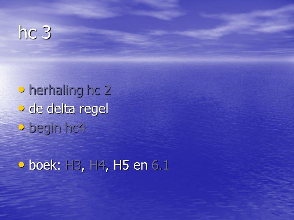 hc 3 herhaling hc 2 herhaling hc 2 de delta regel de delta regel begin hc4 begin hc4 boek: H3, H4, H5 en 6.1 boek: H3, H4, H5 en 6.1