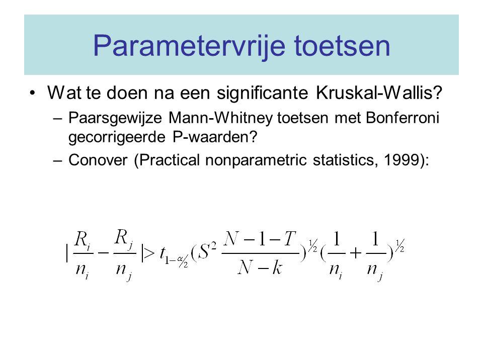 Parametervrije toetsen Wat te doen na een significante Kruskal-Wallis? –Paarsgewijze Mann-Whitney toetsen met Bonferroni gecorrigeerde P-waarden? –Con