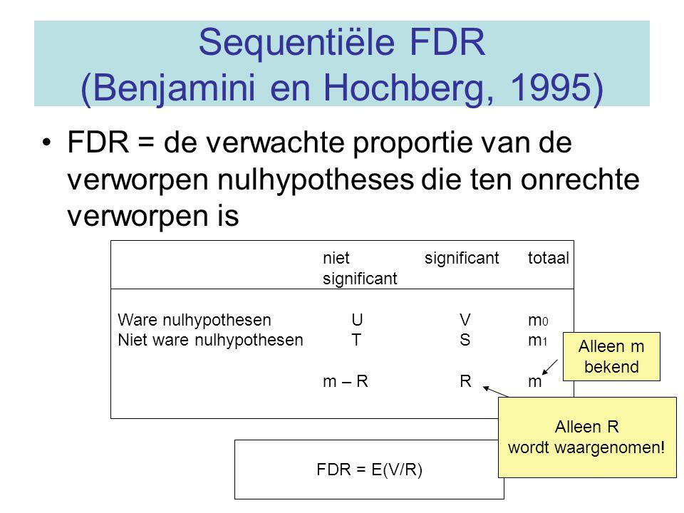 Sequentiële FDR (Benjamini en Hochberg, 1995) FDR = de verwachte proportie van de verworpen nulhypotheses die ten onrechte verworpen is niet significa