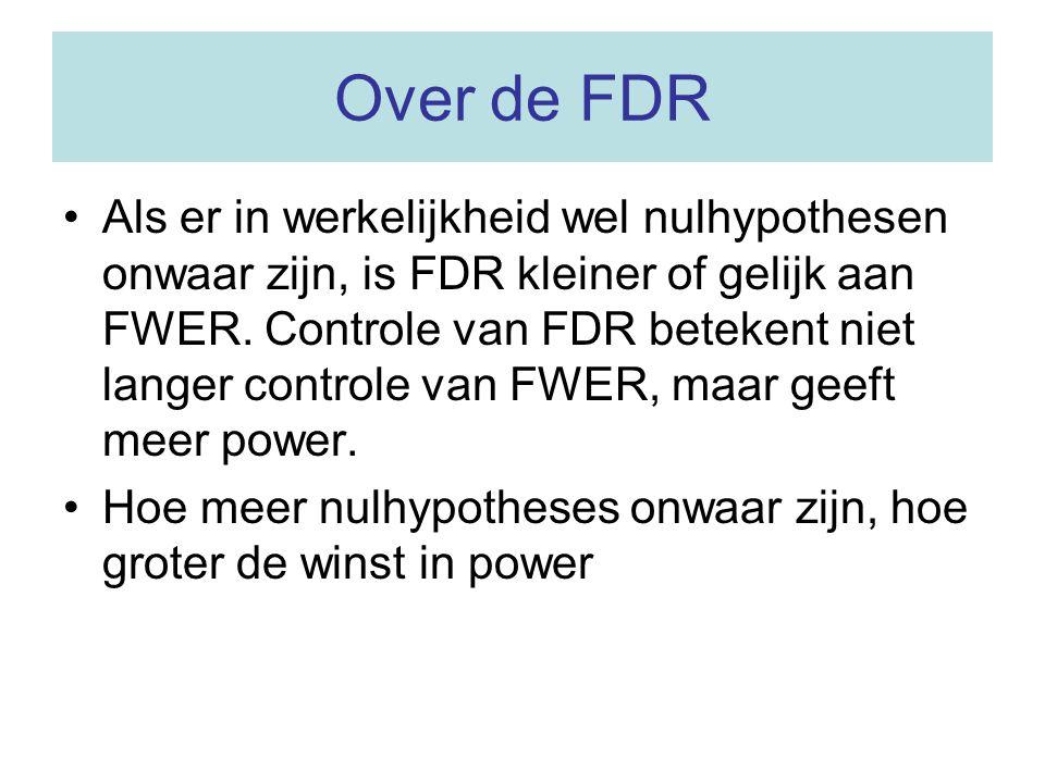 Over de FDR Als er in werkelijkheid wel nulhypothesen onwaar zijn, is FDR kleiner of gelijk aan FWER. Controle van FDR betekent niet langer controle v