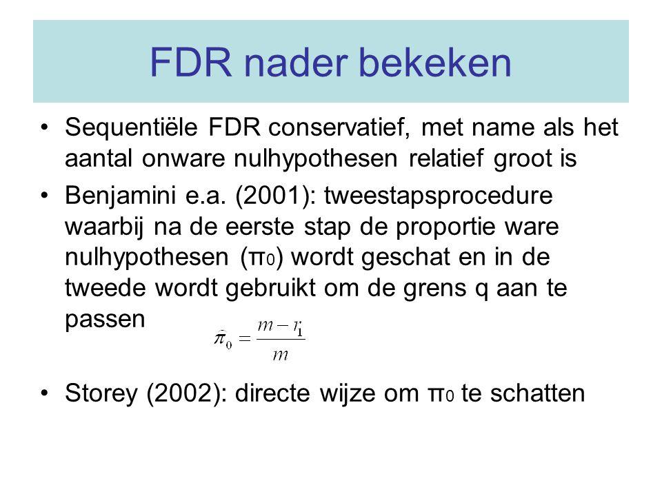 FDR nader bekeken Sequentiële FDR conservatief, met name als het aantal onware nulhypothesen relatief groot is Benjamini e.a. (2001): tweestapsprocedu