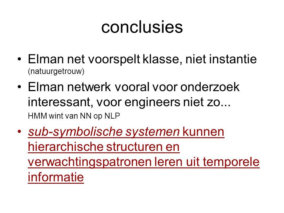 conclusies Elman net voorspelt klasse, niet instantie (natuurgetrouw) Elman netwerk vooral voor onderzoek interessant, voor engineers niet zo...
