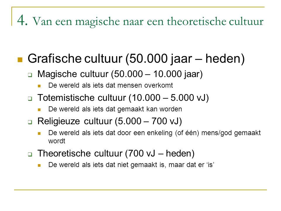 4. Van een magische naar een theoretische cultuur Grafische cultuur (50.000 jaar – heden)  Magische cultuur (50.000 – 10.000 jaar) De wereld als iets