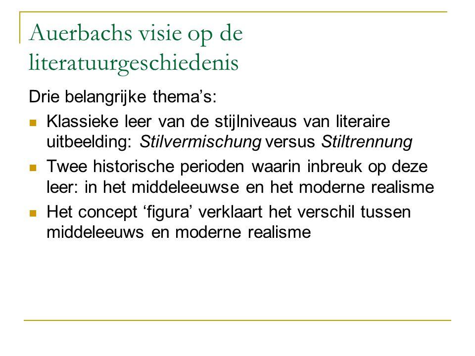 Auerbachs visie op de literatuurgeschiedenis Drie belangrijke thema's: Klassieke leer van de stijlniveaus van literaire uitbeelding: Stilvermischung v