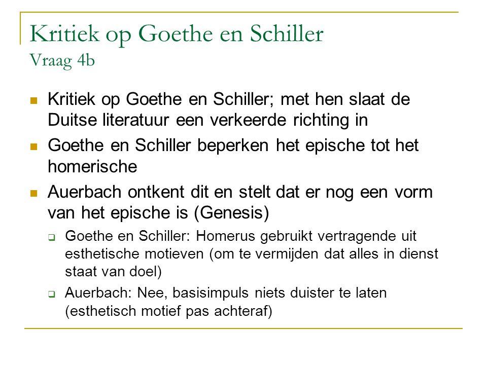 Kritiek op Goethe en Schiller Vraag 4b Kritiek op Goethe en Schiller; met hen slaat de Duitse literatuur een verkeerde richting in Goethe en Schiller