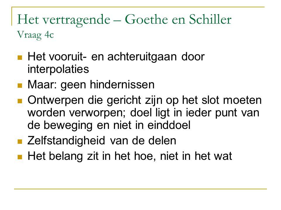 Het vertragende – Goethe en Schiller Vraag 4c Het vooruit- en achteruitgaan door interpolaties Maar: geen hindernissen Ontwerpen die gericht zijn op h