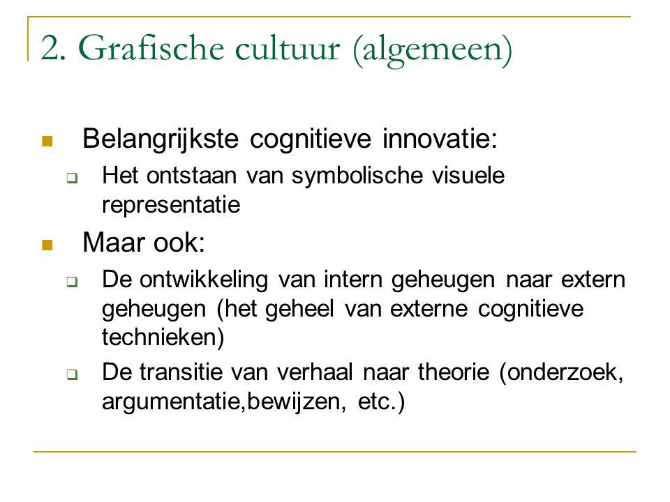 2. Grafische cultuur (algemeen) Belangrijkste cognitieve innovatie:  Het ontstaan van symbolische visuele representatie Maar ook:  De ontwikkeling v