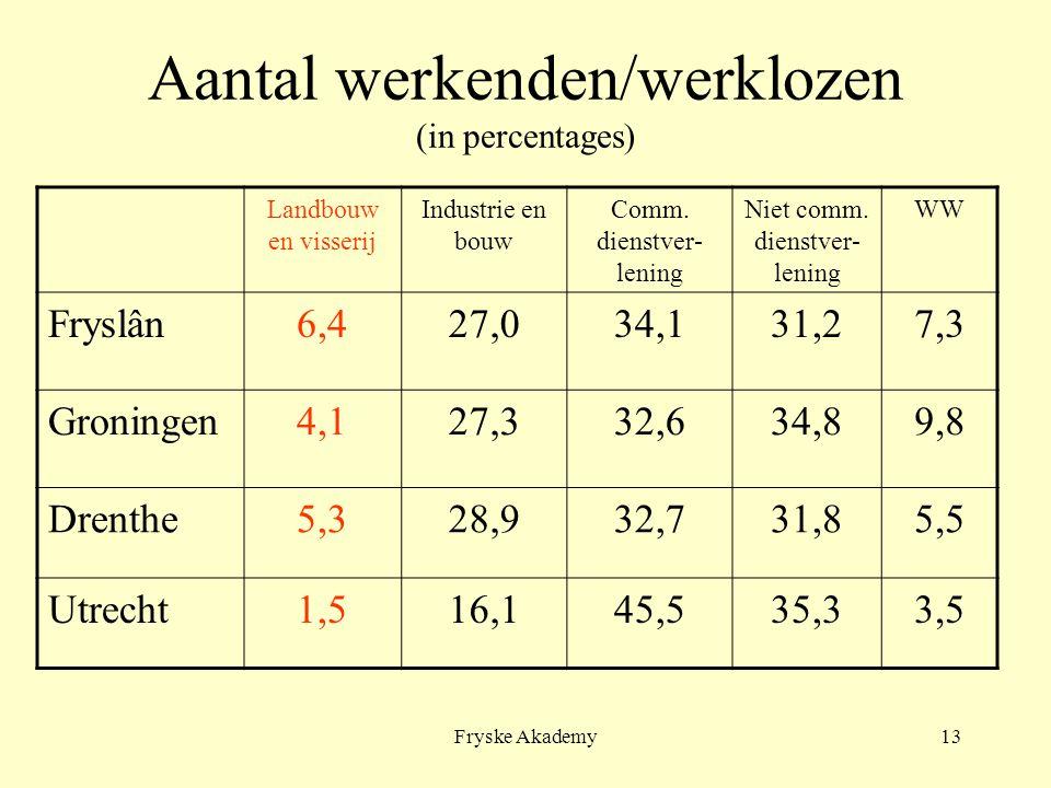 Fryske Akademy13 Aantal werkenden/werklozen (in percentages) Landbouw en visserij Industrie en bouw Comm. dienstver- lening Niet comm. dienstver- leni