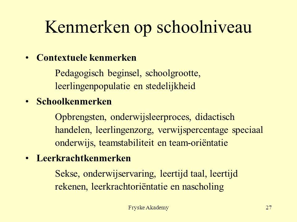 Fryske Akademy27 Kenmerken op schoolniveau Contextuele kenmerken Pedagogisch beginsel, schoolgrootte, leerlingenpopulatie en stedelijkheid Schoolkenme