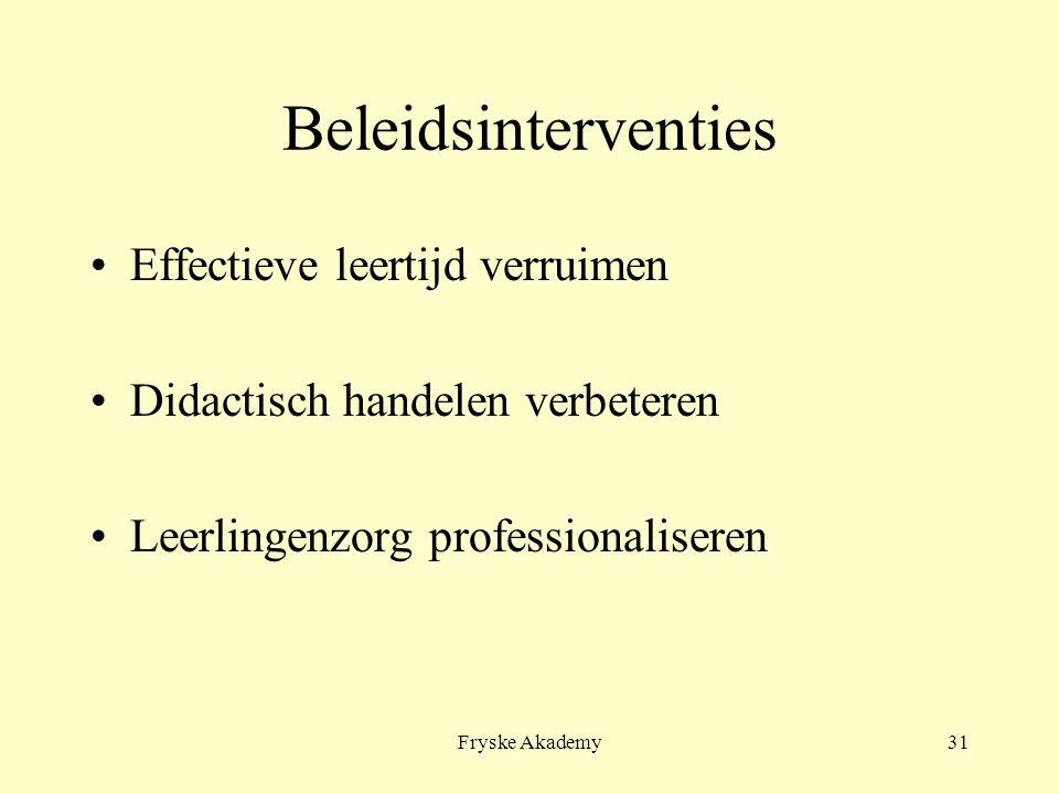 Fryske Akademy31 Beleidsinterventies Effectieve leertijd verruimen Didactisch handelen verbeteren Leerlingenzorg professionaliseren