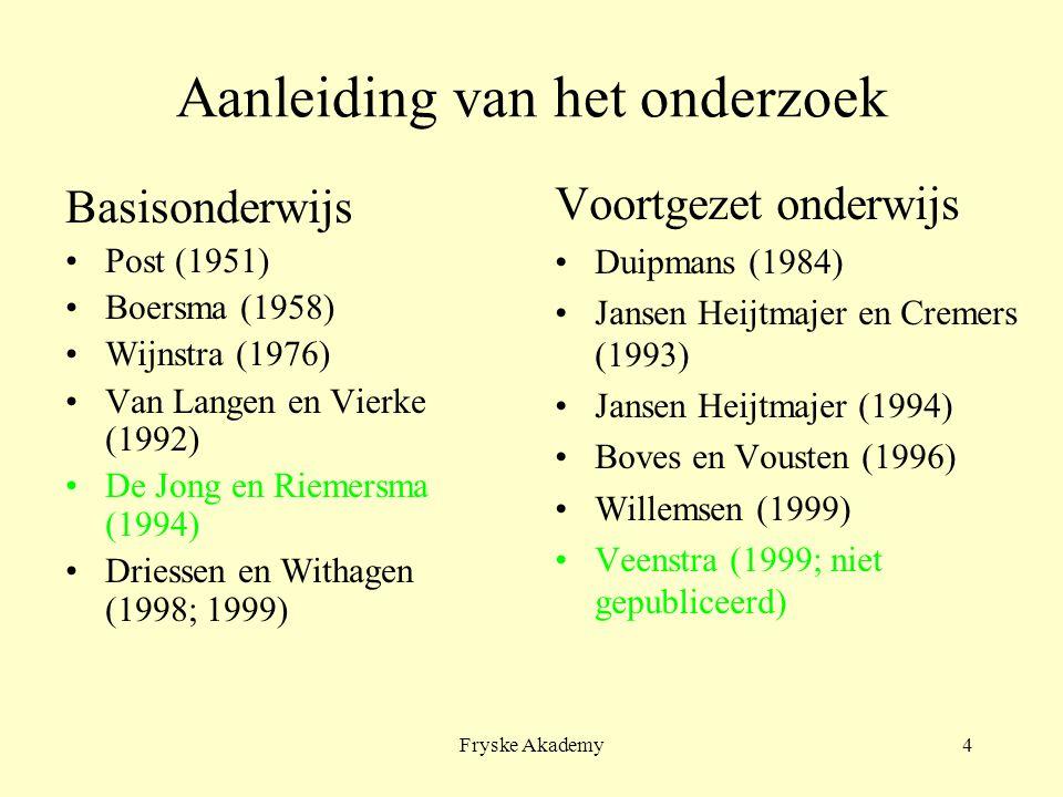 Fryske Akademy4 Aanleiding van het onderzoek Basisonderwijs Post (1951) Boersma (1958) Wijnstra (1976) Van Langen en Vierke (1992) De Jong en Riemersm