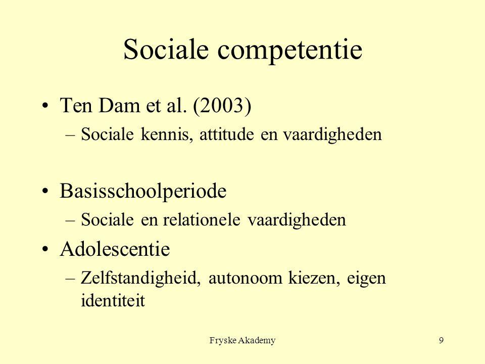 Fryske Akademy9 Sociale competentie Ten Dam et al. (2003) –Sociale kennis, attitude en vaardigheden Basisschoolperiode –Sociale en relationele vaardig