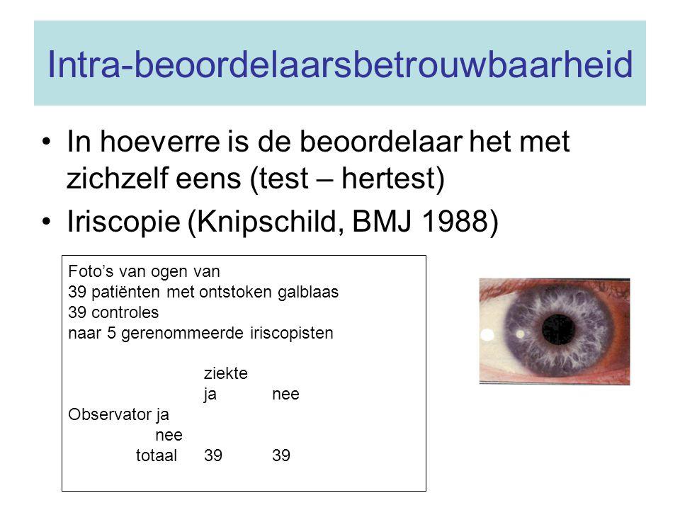 Intra-beoordelaarsbetrouwbaarheid In hoeverre is de beoordelaar het met zichzelf eens (test – hertest) Iriscopie (Knipschild, BMJ 1988) Foto's van oge
