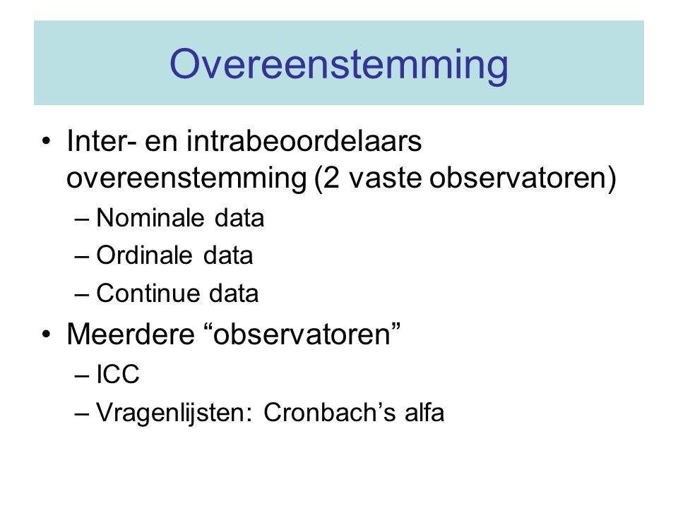Meerdere observatoren (1) 4 observatoren kijken naar MRI-beelden bij 15 patiënten (continue variabele) patiëntobservatorvolume 1 1 48,96 1 2 42,06 1 3 42,80 1 4 45,92 2 1 44,40 2 2 38,73 2 3 42,59 2 4 46,05 3 ……..