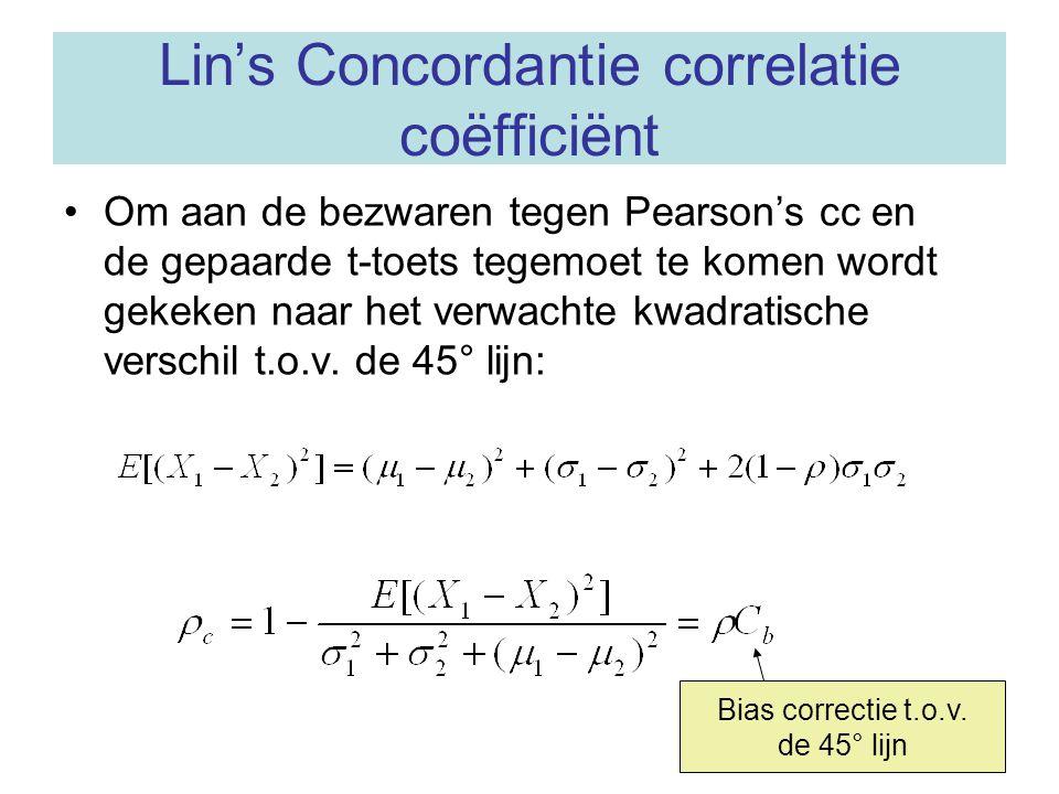 Lin's Concordantie correlatie coëfficiënt Om aan de bezwaren tegen Pearson's cc en de gepaarde t-toets tegemoet te komen wordt gekeken naar het verwac