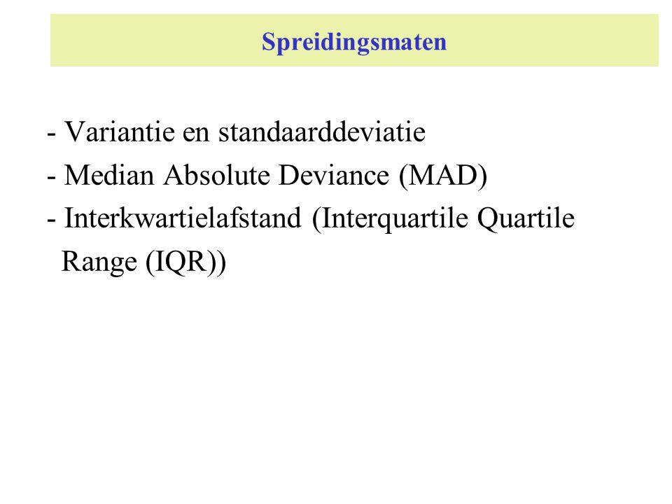 Spreidingsmaten - Variantie en standaarddeviatie - Median Absolute Deviance (MAD) - Interkwartielafstand (Interquartile Quartile Range (IQR))