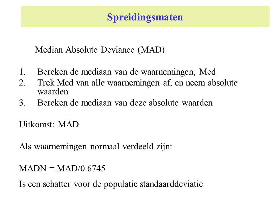 Spreidingsmaten Median Absolute Deviance (MAD) 1.Bereken de mediaan van de waarnemingen, Med 2.Trek Med van alle waarnemingen af, en neem absolute waa