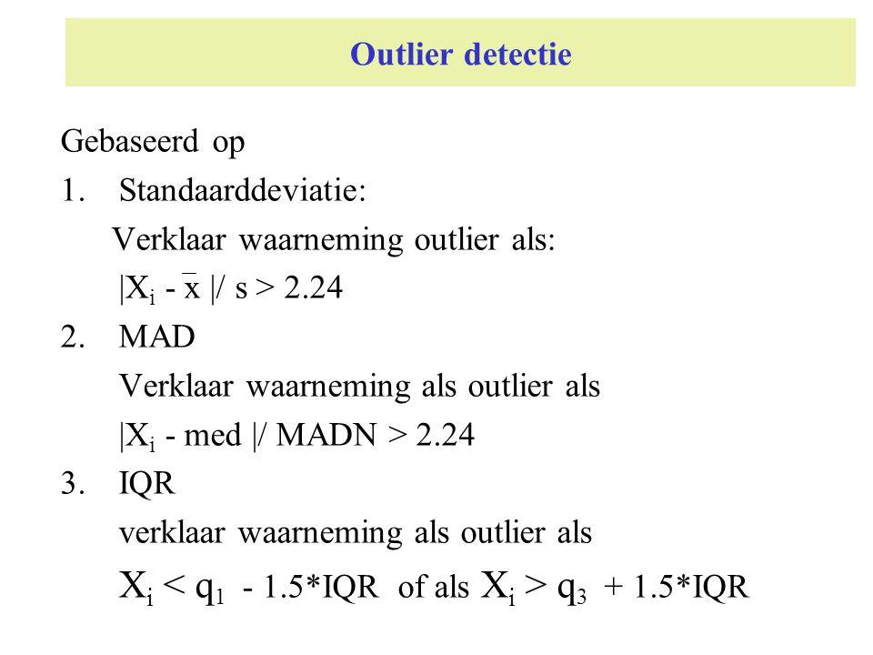 Outlier detectie Gebaseerd op 1.Standaarddeviatie: Verklaar waarneming outlier als: |X i - x |/ s > 2.24 2.MAD Verklaar waarneming als outlier als |X