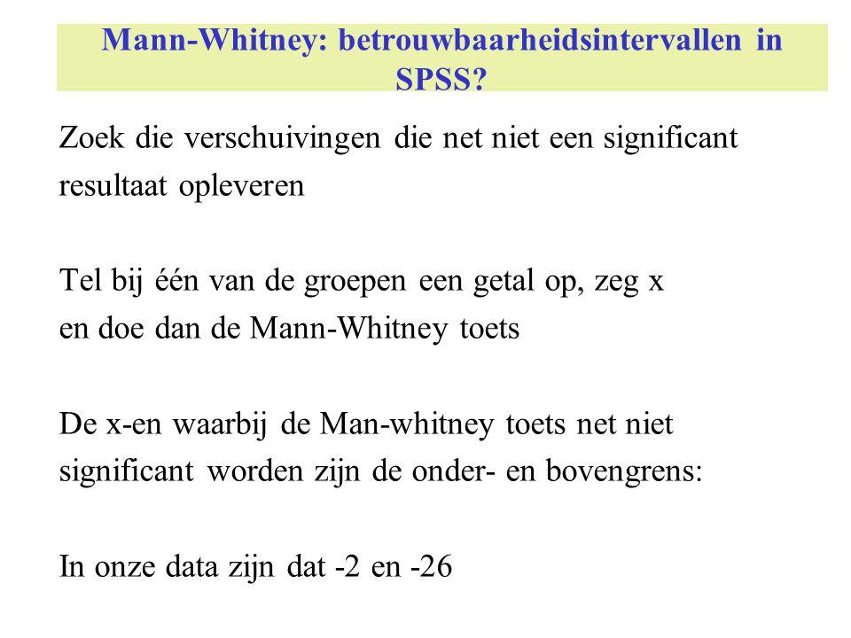 Mann-Whitney: betrouwbaarheidsintervallen in SPSS? Zoek die verschuivingen die net niet een significant resultaat opleveren Tel bij één van de groepen