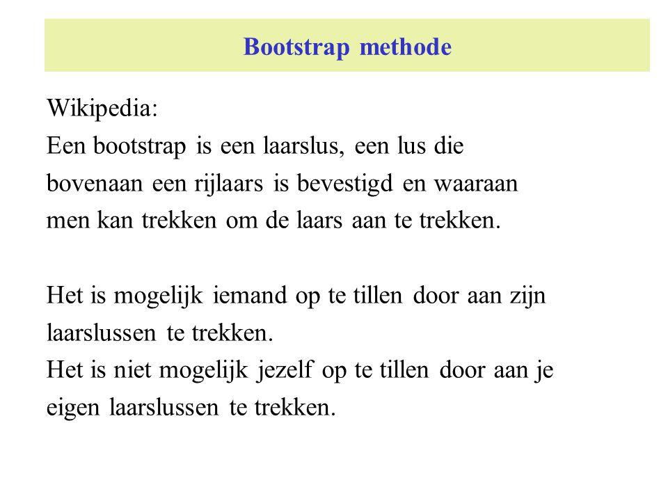 Bootstrap methode Wikipedia: Een bootstrap is een laarslus, een lus die bovenaan een rijlaars is bevestigd en waaraan men kan trekken om de laars aan