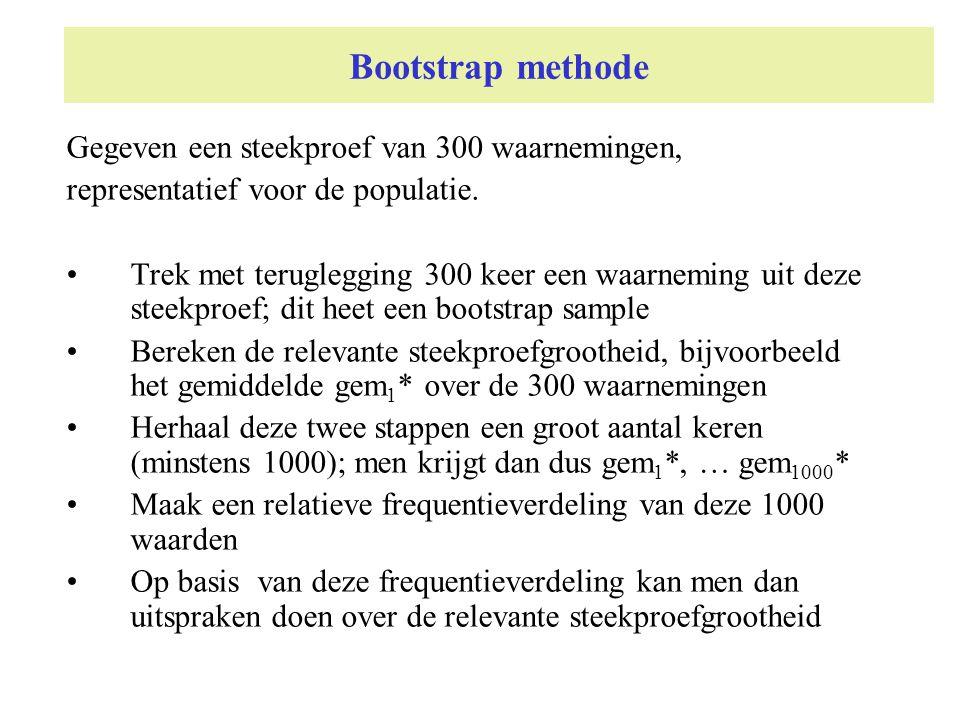 Bootstrap methode Gegeven een steekproef van 300 waarnemingen, representatief voor de populatie. Trek met teruglegging 300 keer een waarneming uit dez