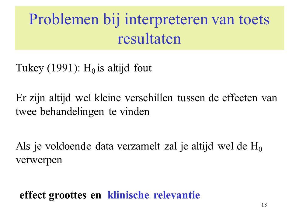 13 Problemen bij interpreteren van toets resultaten Er zijn altijd wel kleine verschillen tussen de effecten van twee behandelingen te vinden Tukey (1