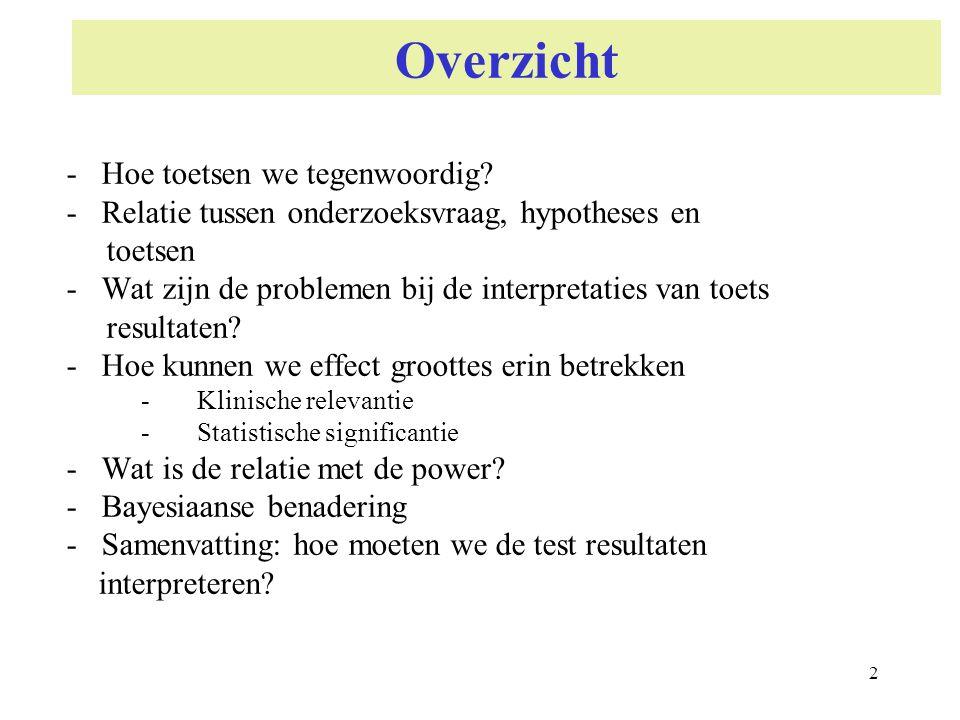 2 Overzicht - Hoe toetsen we tegenwoordig? - Relatie tussen onderzoeksvraag, hypotheses en toetsen - Wat zijn de problemen bij de interpretaties van t