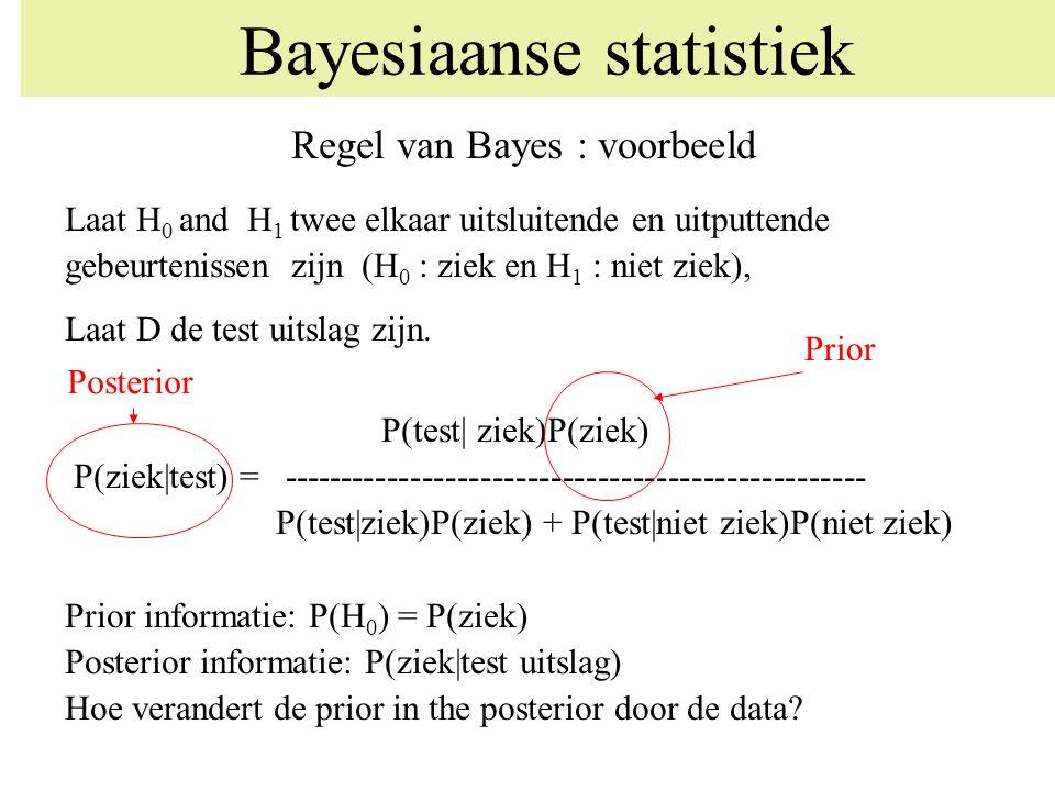 Regel van Bayes : voorbeeld Laat H 0 and H 1 twee elkaar uitsluitende en uitputtende gebeurtenissen zijn (H 0 : ziek en H 1 : niet ziek), Laat D de te
