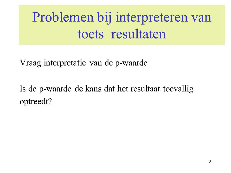 9 Problemen bij interpreteren van toets resultaten Vraag interpretatie van de p-waarde Hoe kan je de p-waarde dan wel interpreteren.