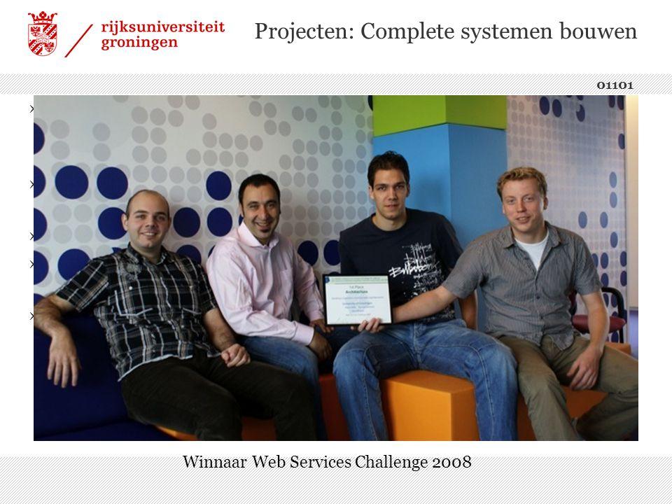 Projecten: Complete systemen bouwen 01101 ›Binnen een groot team (van circa 8 personen) samenwerken ›Duidelijke taakverdeling noodzakelijk ›Harde deadline ›Creativiteit belangrijke eigenschap ›Erg leerzaam.